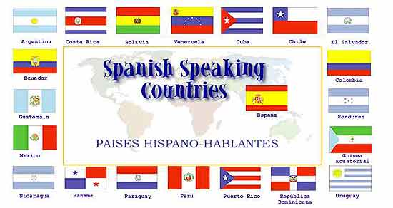 Map displaying the flage of Spanish speaking countries